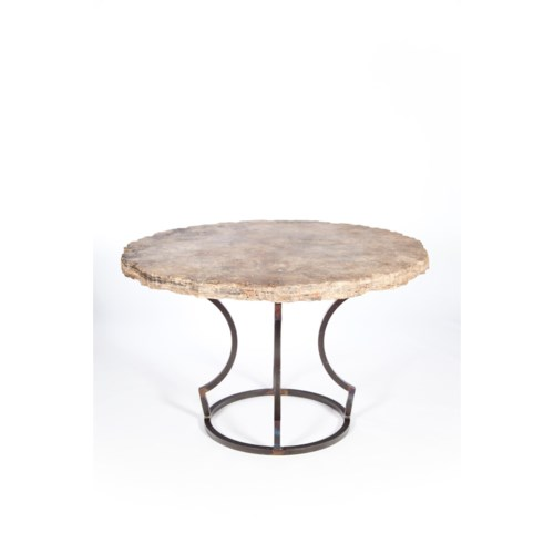 """Charles Dining Table with 48"""" Round Marble Top with Live Edge"""