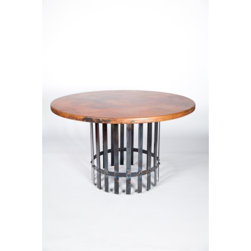 """""""Ashton Dining Table with 48"""""""" Round Hammered Copper Top"""""""