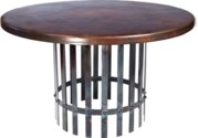 """""""Ashton Dining Table with 48"""""""" Round Dark Brown Hammered Copper Top"""""""