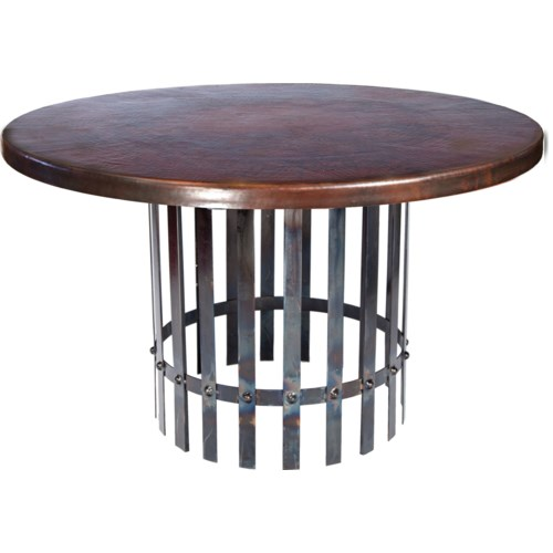 """Ashton Dining Table with 48"""" Round Dark Brown Hammered Copper Top"""