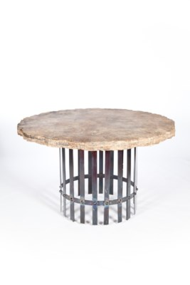 """""""Ashton Dining Table with 48"""" Round Marble Top with Live Edge"""""""