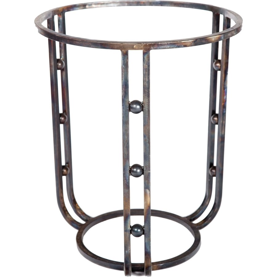 """Clayton Dining Table with 48"""" Round Hammered Copper Top"""