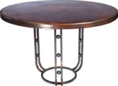 """""""Clayton Dining Table with 48"""""""" Round Dark Brown Hammered Copper Top"""""""