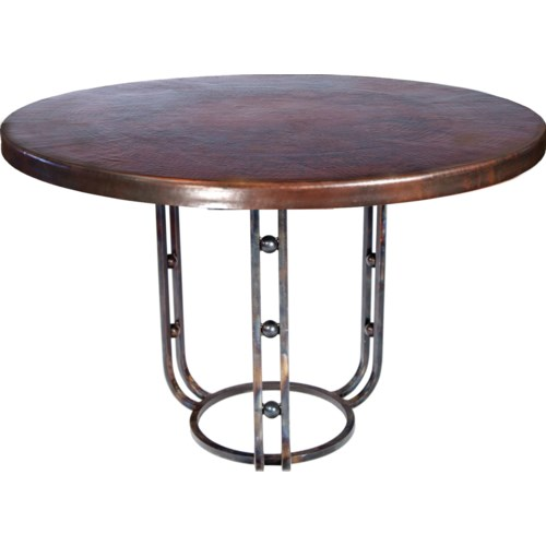 """Clayton Dining Table with 42"""" Round Dark Brown Hammered Copper Top"""