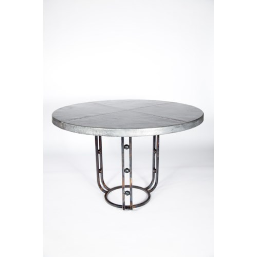 """""""Clayton Dining Table with 48"""""""" Round Hammered Zinc Top"""""""