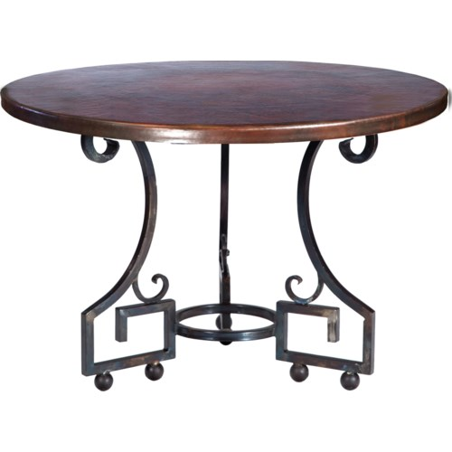 """""""Kingsley Dining Table with 48"""""""" Round Dark Brown Hammered Copper Top"""""""