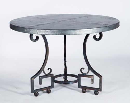 """Kingsley Dining Table with 48"""" Round Zinc Copper Top"""