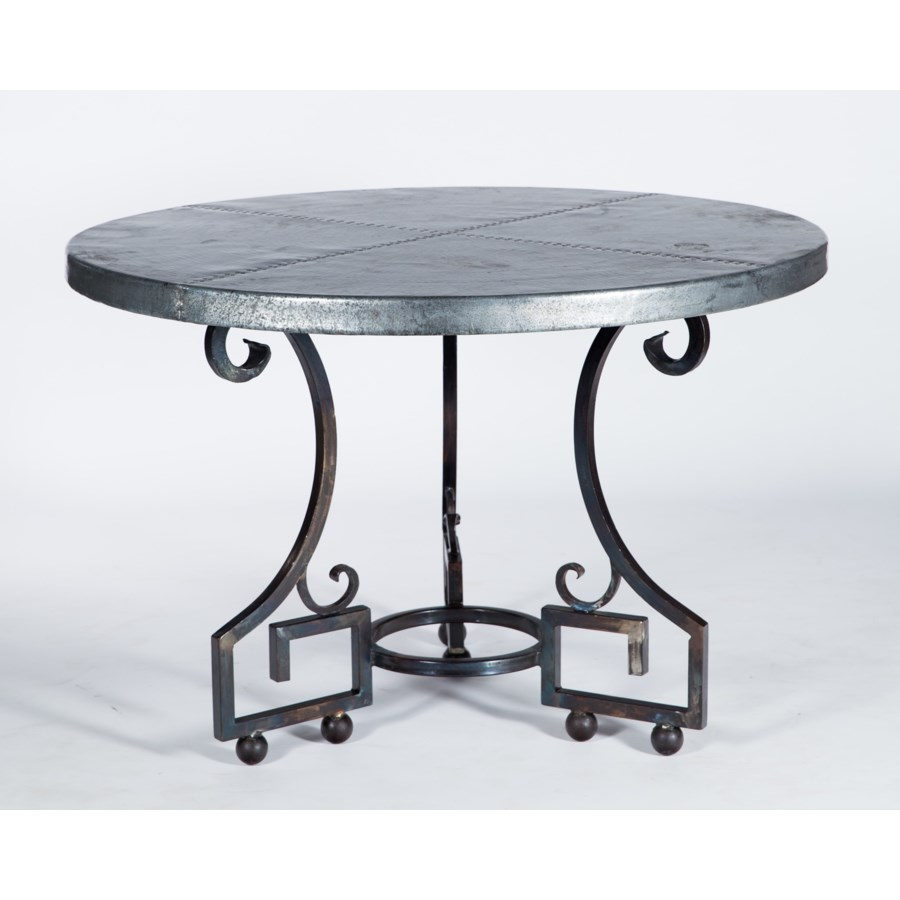 """Kingsley Dining Table with 54"""" Round Hammered Zinc Top"""