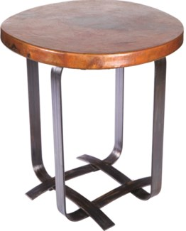 Douglas Basketweave Side Table with Hammered Copper Top