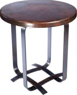 Douglas Basketweave Side Table with Dark Brown Hammered Copper Top