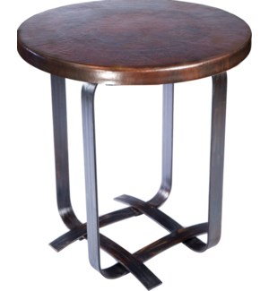 Douglas Basketweave Side Table with Dark Brown Hammered Copper Top