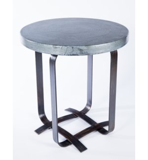 Douglas Basketweave Side Table with Hammered Zinc Top