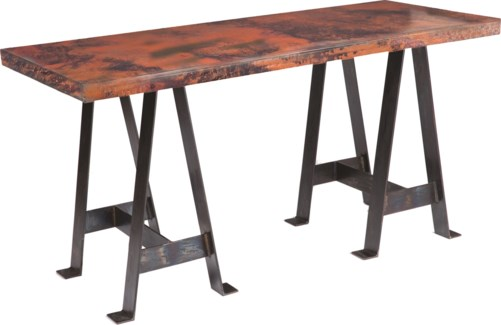 Edison Console Table with Hammered Copper Top