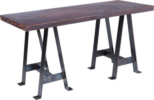 Edison Console Table with Dark Brown Hammered Copper Top