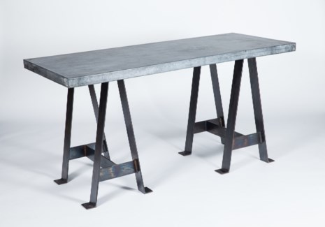 Edison Console Table with Hammered Zinc Copper Top