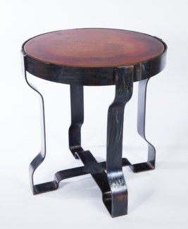 Richmond Metal End Table with Hammered Copper Top