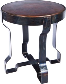 Richmond Metal End Table with Dark Brown Hammered Copper Top