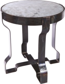 Richmond Metal End Table with Hammered Zinc Top