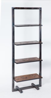 Jeremiah Etagere in Fire Finish with Wood Shelves
