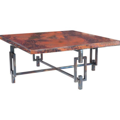 Elliot Square Cocktail Table with Square Hammered Copper Top