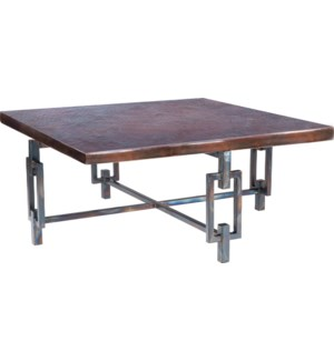 Elliot Square Cocktail Table with Square Dark Brown Hammered Copper Top