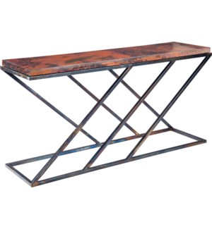 Carter Console Table with Hammered Copper Top
