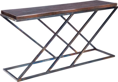 Carter Console Table with Dark Brown Hammered Copper Top