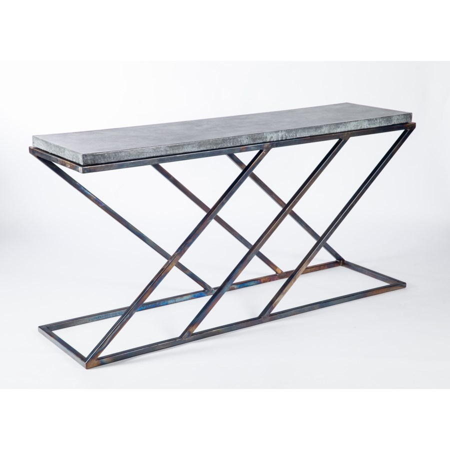 Carter Console Table with Hammered Zinc Top