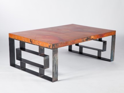William Cocktail Table with Hammered Copper Top