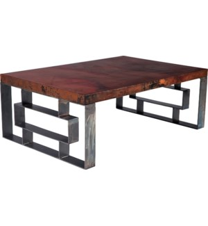 William Cocktail Table with Dark Brown Hammered Copper Top