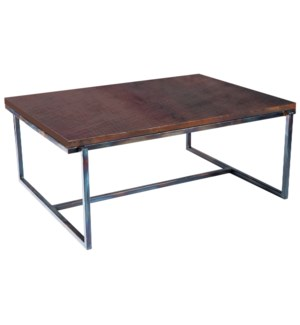 Foster Cocktail Table with Dark Brown Hammered Copper Top