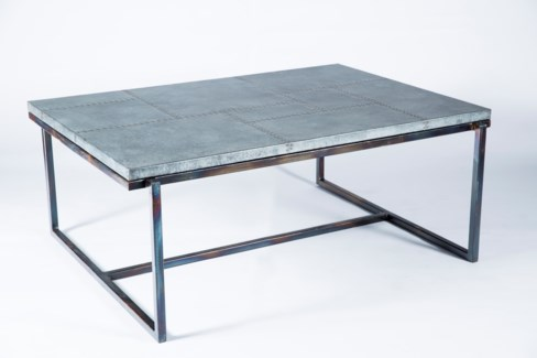 Foster Cocktail Table with Patchwork Zinc Top