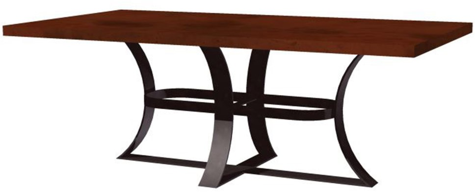 """Avery Dining Table with 72"""" x 44"""" Rectangle Natural Hammered Copper Top"""