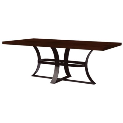 """Avery Dining Table with 72"""" x 44"""" Rectangle Dark Brown Hammered Copper Top"""