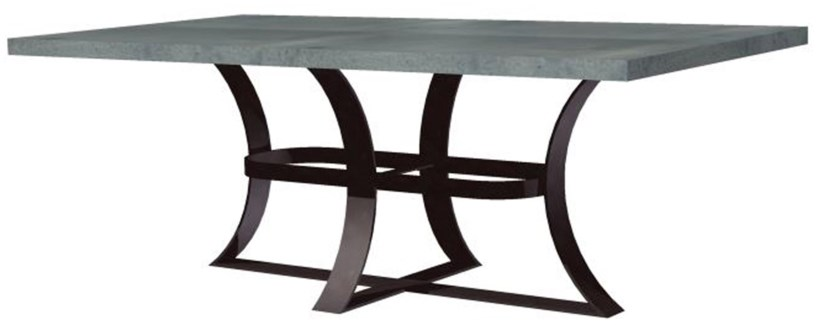 """Avery Dining Table with 72"""" x 44"""" Rectangle Hammered Zinc Top"""