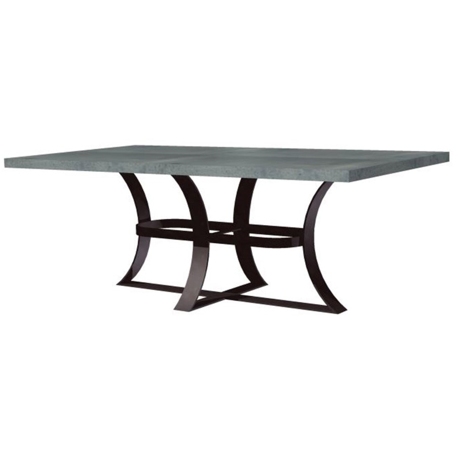 "Avery Dining Table with 72"" x 44"" Rectangle Hammered Zinc Top"