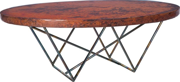 Dylan Oval Coctail Table with Natural Hammered Copper Top