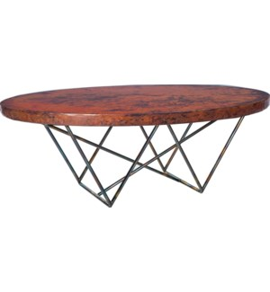 Dylan Oval Cocktail Table with Natural Hammered Copper Top