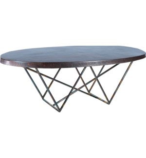 Dylan Oval Cocktail Table with Dark Brown Hammered Copper Top