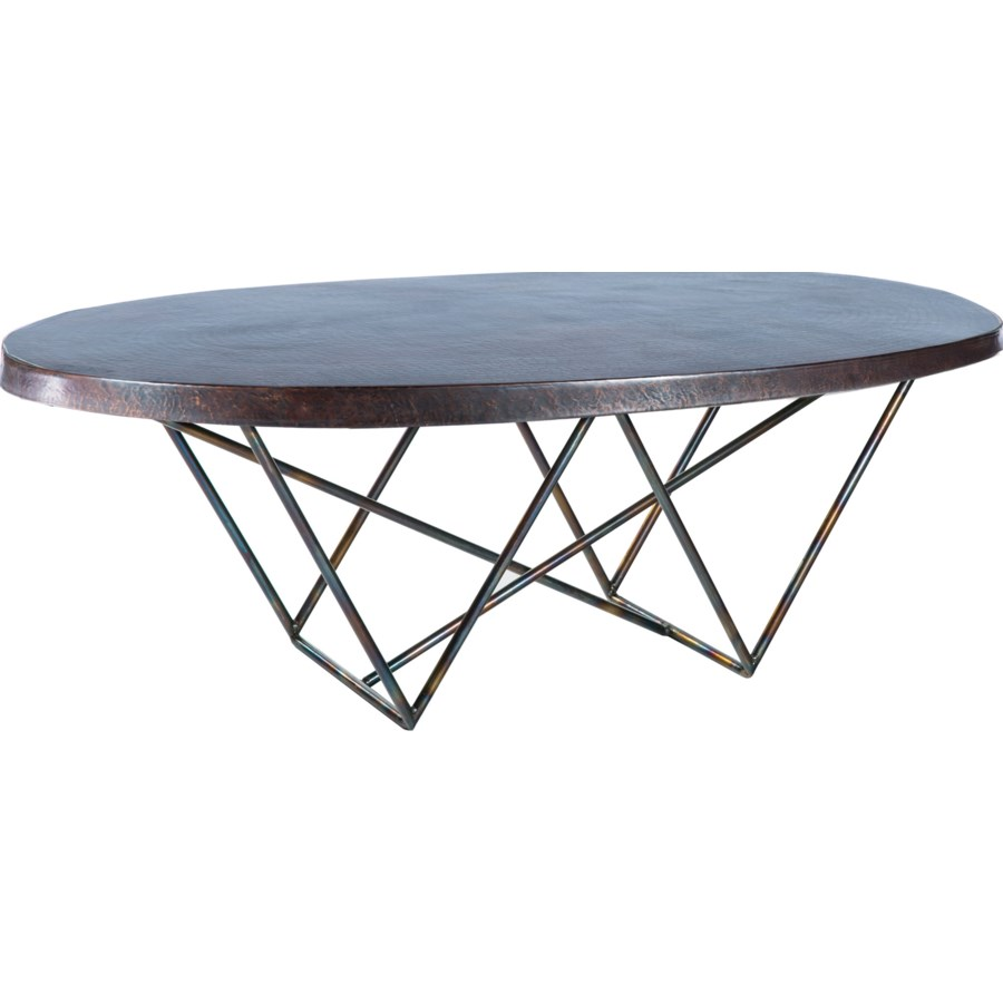Dylan Oval Coctail Table with Dark Brown Hammered Copper Top