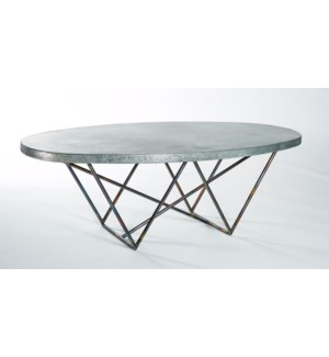 Dylan Oval Cocktail Table with Hammered Zinc Top