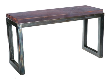 Chester Console Table with Dark Brown Hammered Copper Top