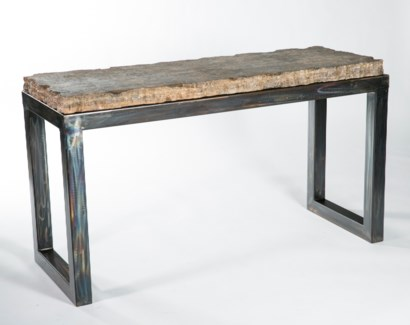 Chester Console Table with Live Edge Marble Top