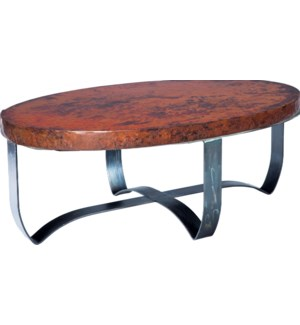 Round Strap Coffee Table with Natural Hammered Copper Top