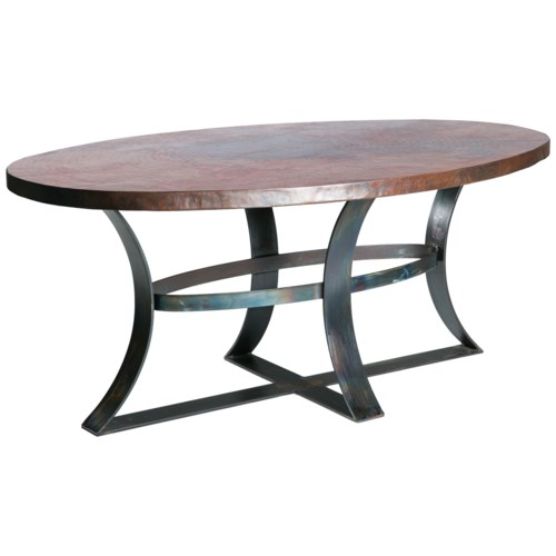 """Avery Dining Table with 84"""" x 44"""" Oval Hammered Copper Top"""