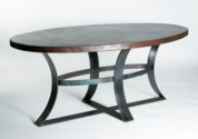 Avery Oval Dining Table with Dark Brown Hammered Copper Top