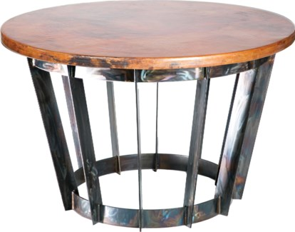 Dexter Foyer Table with Natural Hammered Copper Top