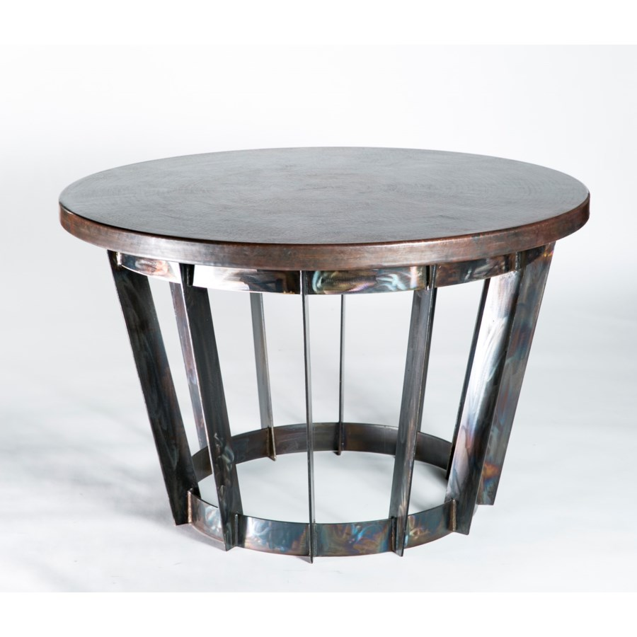Dexter Foyer Table with Dark Brown Hammered Copper Top
