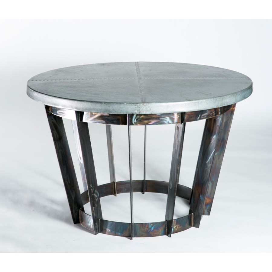 Dexter Foyer Table with Hammered Zinc Top