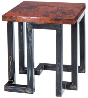 Aiden Side Table with Natural Hammered Copper Top